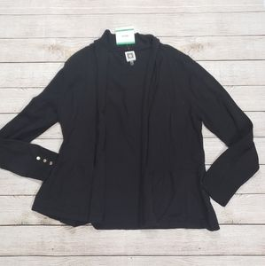 Anne Klein black open front cardigan Large